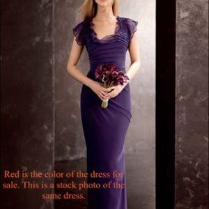 Vera Wang Crinkle Chiffon Flutter-sleeve Dress